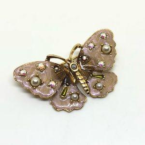 Jewelry - Mauve Enamel and Rhinestone Butterfly Pin